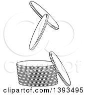 Clipart Of A Black And White Stack And Falling Coins Royalty Free Vector Illustration