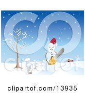 Mad Snowman Wearing A Santa Hat And Holding A Chainsaw On A Snow Covered Landscape Near A Barn Clipart Illustration