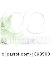 Clipart Of A Background Of Gray And Green Skeleton Leaves On White Royalty Free Vector Illustration by dero