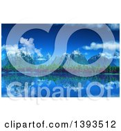 Clipart Of A 3d Background Of Snow Topped Mountains And Trees Reflecting In A Still Lake Royalty Free Illustration by KJ Pargeter