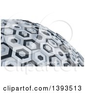 3d Abstract Black And White Hexagon Globe On White