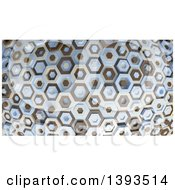 Clipart Of A 3d Abstract Brown Tan And Blue Hexagon Pattern Background Royalty Free Illustration