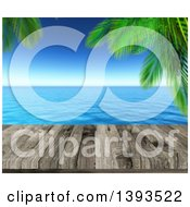 Clipart Of A 3d Aged Wood Deck Against A Blurred View Of Palm Trees And The Ocean Royalty Free Illustration