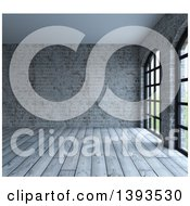 Clipart Of A 3d Room Interior Of Industrial Wood Floors And Brick Walls Royalty Free Illustration by KJ Pargeter