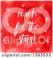 Clipart Of Reach For The Stars Text On Red Watercolor Royalty Free Vector Illustration