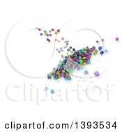 Clipart Of A Background Of 3d Colorful Falling Blocks On White Royalty Free Illustration