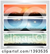 Clipart Of Orange Blue And Green Sky Website Banners With Silhouetted Grass On Gray Royalty Free Vector Illustration