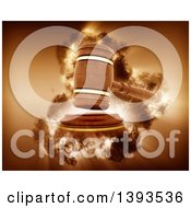 Clipart Of A 3d Wooden Judges Gavel Hitting The Block With A Storm Effect Royalty Free Illustration
