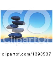 Stack Of 3d Balanced Stones Against A Sunrise Or Sunset Sky