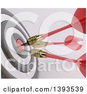 Closeup Of A 3d Target With Three Darts In The Bulls Eye On A Shaded Background