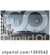 Clipart Of A 3d Throw Draped Over A White Leather Chair In A Room Interior Royalty Free Illustration
