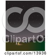 Two Campers Keeping Warm By A Campfire Under The Stars Clipart Illustration