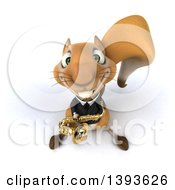 3d Business Squirrel On A White Background