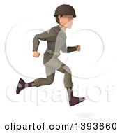 Clipart Of A 3d Low Poly Geometric Caucasian Male Army Soldier Running On A White Background Royalty Free Illustration