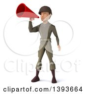 Clipart Of A 3d Low Poly Geometric Caucasian Male Army Soldier Using A Megaphone On A White Background Royalty Free Illustration