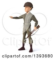 Clipart Of A 3d Low Poly Geometric Caucasian Male Army Soldier On A White Background Royalty Free Illustration