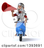 Clipart Of A 3d Young Male Roman Legionary Soldier On A Moped Scooter On A White Background Royalty Free Illustration