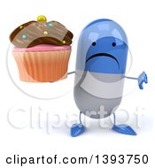 Clipart Of A 3d Blue Pill Character Holding A Cupcake On A White Background Royalty Free Illustration