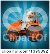Clipart Of A 3d Sheep Operating A Tractor On A Blue Background Royalty Free Illustration