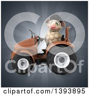 Clipart Of A 3d French Sheep Operating A Tractor On A Gray Background Royalty Free Illustration