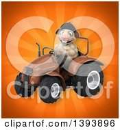 Clipart Of A 3d French Sheep Operating A Tractor On An Orange Background Royalty Free Illustration