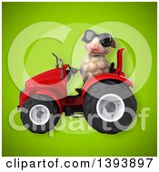 Poster, Art Print Of 3d Sheep Operating A Tractor On A Green Background