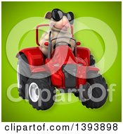 Clipart Of A 3d Sheep Operating A Tractor On A Green Background Royalty Free Illustration