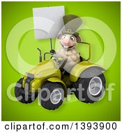Poster, Art Print Of 3d Irish Sheep Operating A Tractor On A Green Background