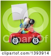 Clipart Of A 3d Scarlet Macaw Parrot Driving A Convertible Car On A Green Background Royalty Free Illustration