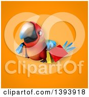 Clipart Of A 3d Scarlet Macaw Parrot Carrying Shopping Bags On An Orange Background Royalty Free Illustration