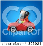 Clipart Of A 3d Scarlet Macaw Parrot Driving A Convertible Car On A Blue Background Royalty Free Illustration