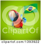 Clipart Of A 3d Scarlet Macaw Parrot Holding A Brazilian Flag On A Green Background Royalty Free Illustration