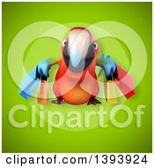 Clipart Of A 3d Scarlet Macaw Parrot Carrying Shopping Bags On A Green Background Royalty Free Illustration