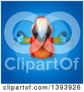 Clipart Of A 3d Scarlet Macaw Parrot On A Blue Background Royalty Free Illustration