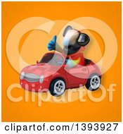 Clipart Of A 3d Scarlet Macaw Parrot Driving A Convertible Car On An Orange Background Royalty Free Illustration