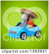 Clipart Of A 3d Mexican Scarlet Macaw Parrot Driving A Convertible Car On A Green Background Royalty Free Illustration