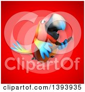 3d Scarlet Macaw Parrot On A Red Background
