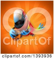 3d Scarlet Macaw Parrot On An Orange Background