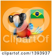 Clipart Of A 3d Scarlet Macaw Parrot Holding A Brazilian Flag On An Orange Background Royalty Free Illustration