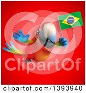 Clipart Of A 3d Scarlet Macaw Parrot Holding A Brazilian Flag On A Red Background Royalty Free Illustration