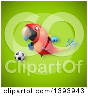 Clipart Of A 3d Scarlet Macaw Parrot On A Green Background Royalty Free Illustration