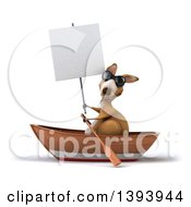 Clipart Of A 3d Kangaroo Rowing A Boat On A White Background Royalty Free Illustration
