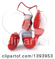 Clipart Of A 3d Sailor Lobster On A White Background Royalty Free Illustration by Julos