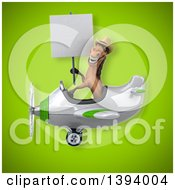 Clipart Of A 3d Brown Cowboy Horse Flying A Plane On A Green Background Royalty Free Illustration