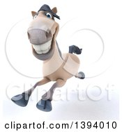Clipart Of A 3d Beige Horse Running On A White Background Royalty Free Illustration by Julos