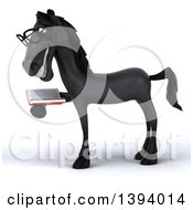 Clipart Of A 3d Black Horse Reading A Book On A White Background Royalty Free Illustration