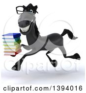 Clipart Of A 3d Black Horse Running With A Stack Of Books On A White Background Royalty Free Illustration