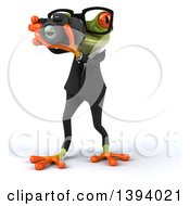 Clipart Of A 3d Green Business Springer Frog Taking Pictures On A White Background Royalty Free Illustration