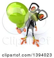 Clipart Of A 3d Green Business Springer Frog Holding A Light Bulb On A White Background Royalty Free Illustration