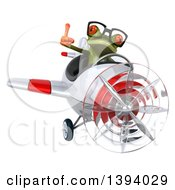 Clipart Of A 3d Green Springer Frog Flying A Plane On A White Background Royalty Free Illustration